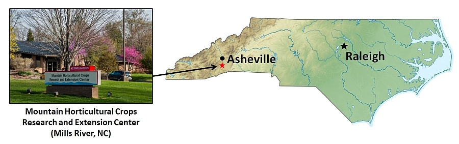 NC map showing Asheville and Raleigh