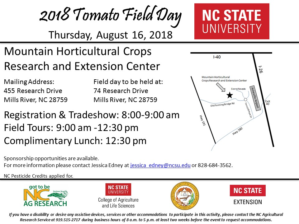 2018 Tomato Field Day will be Thursday, August 16, 2018