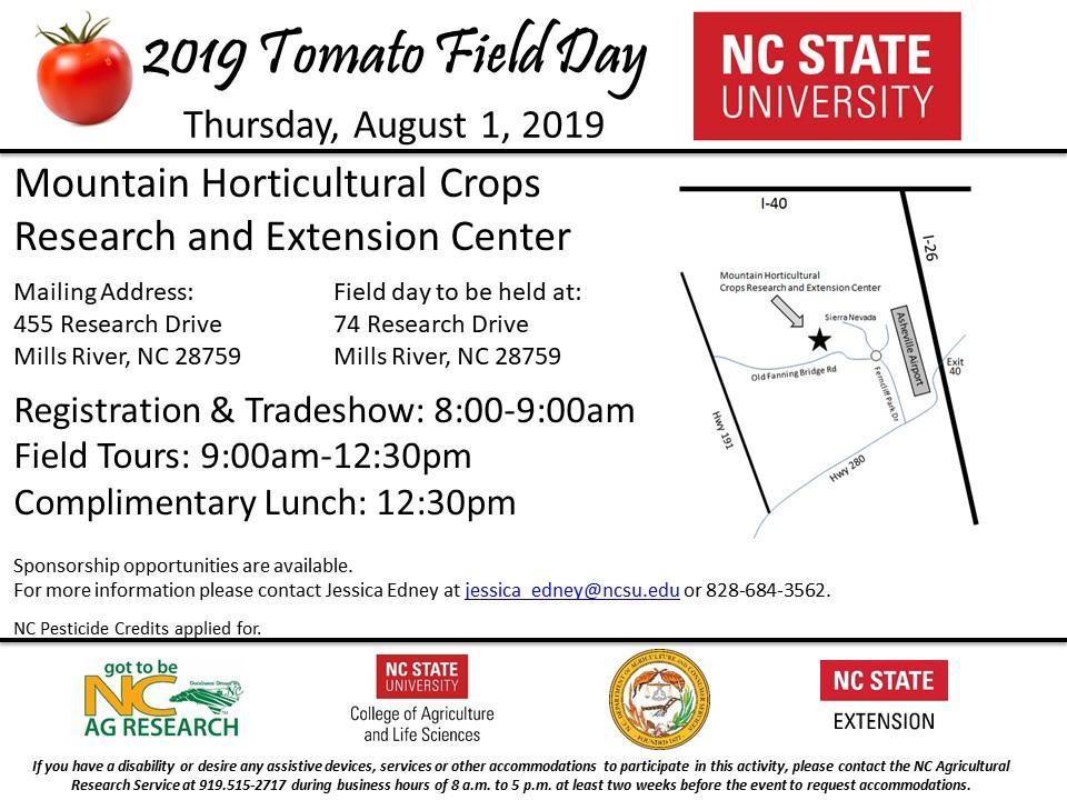 2019 MHCREC Tomato Field Day Flyer